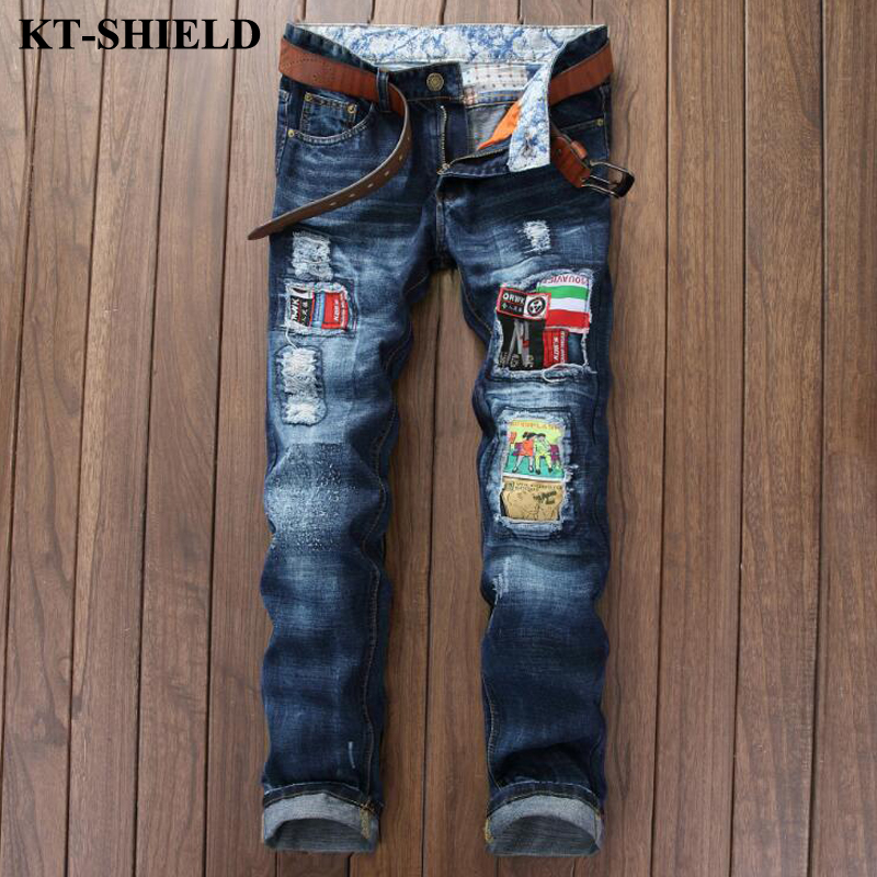 Hot Sell Ripped Men Denim Jeans Printed Skinny Pants for Man Brand Designer Clothing 100 Cotton