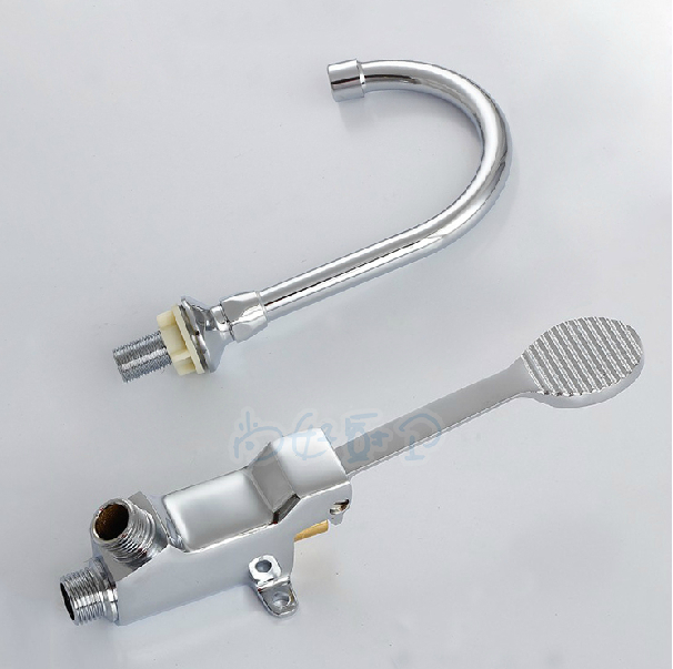 hs operated no steel w pedal faucet valve foot lead nsf p hand stainless faucets s sink etl