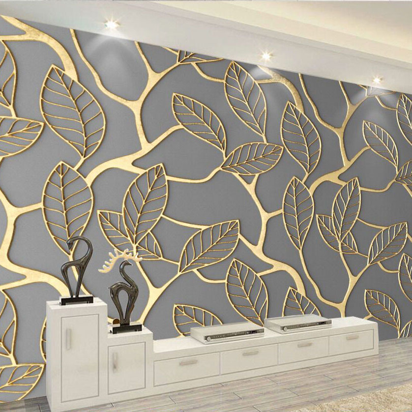 8D Papel Murals Gold Leaf Wallpapers 3d Murals for TV Background Leaf Murals 3D Wall paper 3d Wall Photo Murals shinehome black white cartoon car frames photo wallpaper 3d for kids room roll livingroom background murals rolls wall paper