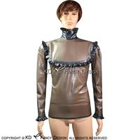 Transparent Black With Black Frills Sexy Latex Blouse With Back Zip Rubber Shirt Top Clothes YF 0082