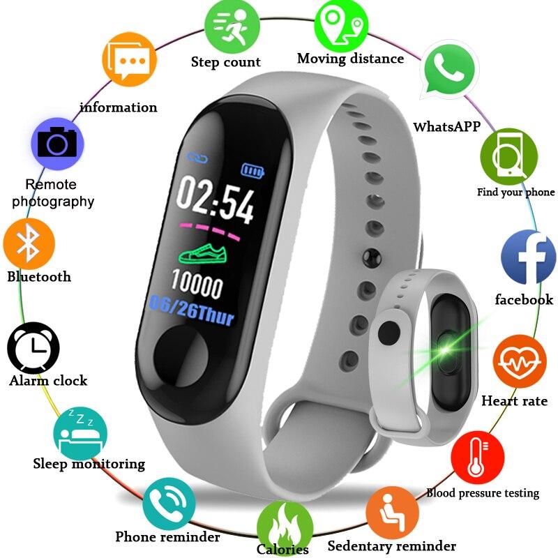Pulsera inteligente M3 con Monitor de ritmo cardíaco, pulsera deportiva resistente al agua para hombres y mujeres