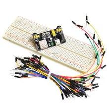 3.3v/5v mb102 breadboard módulo de potência MB-102 830 pontos solderless protótipo pão placa kit 65 fios jumper flexíveis