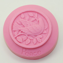 Bird Pattern Round Soap Making Mold silica gel soap Silicone