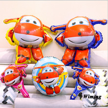 birthday party super wings balloons foil helium inflatable cartoon robot toys decoration