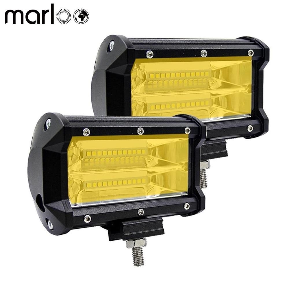 Marloo 2X 72W Yellow Led Fog Light Drivng Lamp Offroad Light Bar Waterproof Offroad Light Bar For Jeep ATV Truck 12V 24V