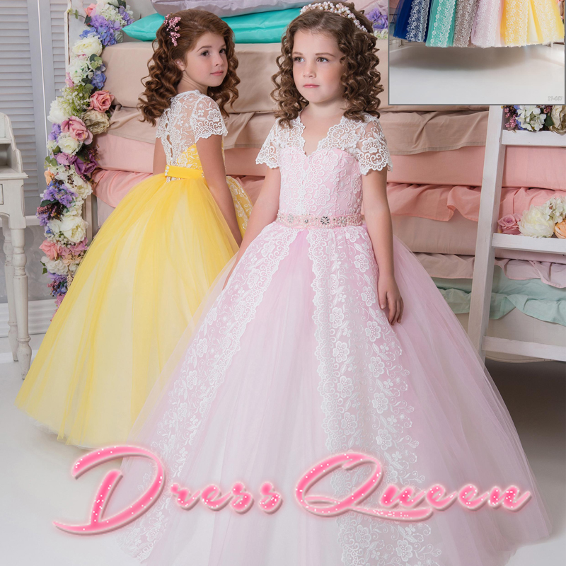 2017 New Flower Girl Dresses Pink/Yellow V Neck Short Sleeves Ball Gown Back Button Applique Lace Communion Gowns Vestidos Longo цена и фото