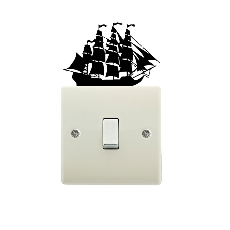 Old Pirate Sailing Boat Switch Wall Sticker Vinyl Decals Home Decor 4WS0138