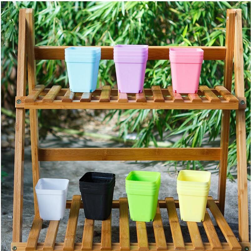 7pcs Mixed Color New Plastic Flower Pots With Tray Small Succulent Plant Flower Pot For Garden Desk Home Balcony Decoration