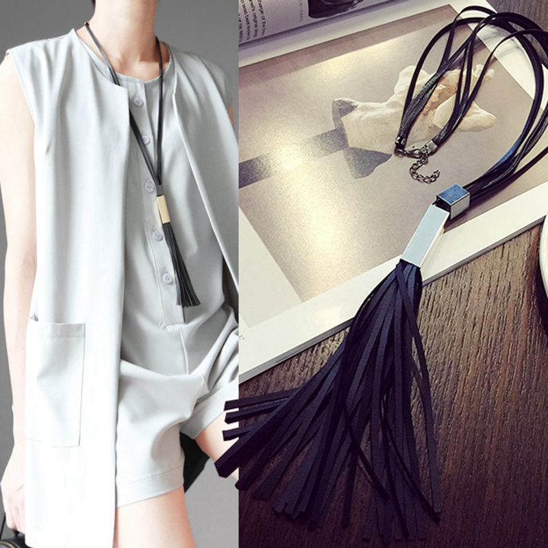 New Leather Long Tassel Sweater Chain Black  Pendants Necklaces Colar Feminino Gros Collier Femme 2015 Women Collane Bijoux