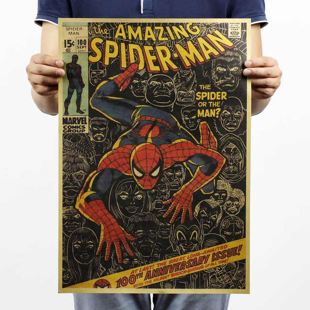 Endgame 4 Spiderman Homem de Ferro Os Vingadores Marvel Vingadores cartaz de Papel Kraft Do Vintage Home Decor Arte Estampas Retrô