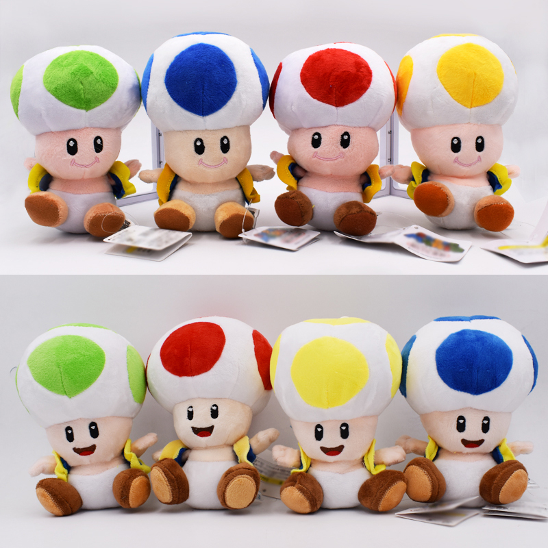 16cm 8 Styles Super Mario Plush Toy Toad Close Open Mouth Mushroom Green Blue Red Yellow Stuffed Doll Christmas Gift For Kids