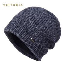 VEITHDIA Double Layer Skullies Hats For Men beanies Knitted plus velvet Patchwork Color Cap Winter Mens Hat gorro cap Thick warm