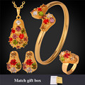 Gold Plated Jewelry Set For Women Pendant Necklace Bracelet Ring Earrings Trendy Austrian Crystal Jewelry Sets PEHR1197