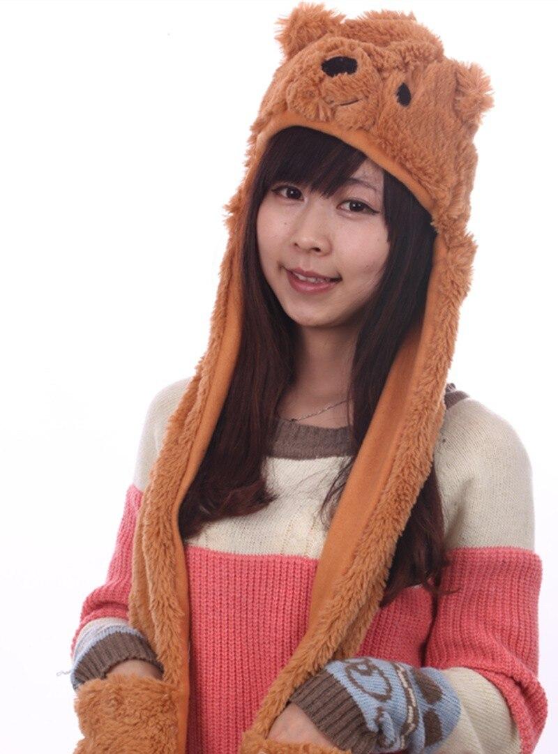 Douchow женские подростковые дети мультфильм животных шляпа милый белый розовый коричневый медведь плюшевые зимние теплые кепки с лапой перчатки для мальчиков и девочек
