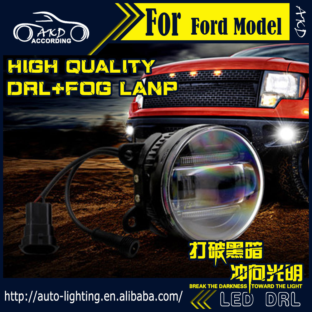AKD Car Styling Fog Light for Ford Fiesta DRL LED Fog Light LED Headlight 90mm high power super bright lighting accessories 1 pcs diy car styling new pu leather free punch with cup holder central armrest cover case for ford 2013 fiesta part accessories