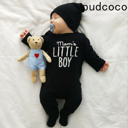 2019 Brand New Fashion Newborn Toddler Infant Baby Boys   Romper   Long Sleeve Jumpsuit Playsuit Little Boy Outfits Black Clothes