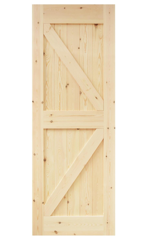 DIYHD 30 In84 In Pine Knotty Sliding Barn Wood Door Slab Two-side Arrow Shape Barn Door Slab (Unfinished)