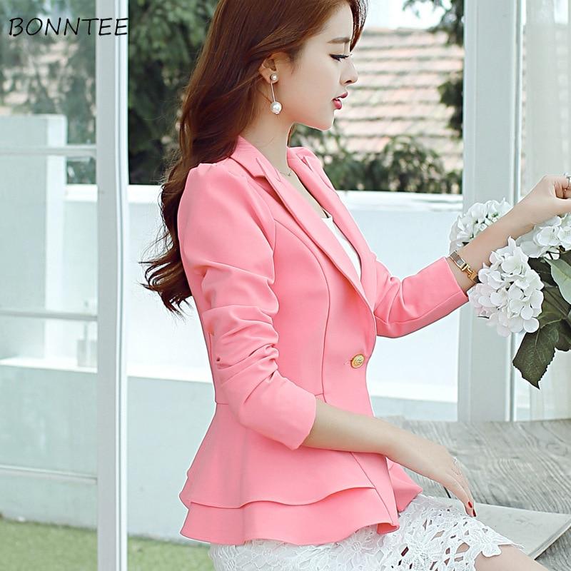 Blazers Women Single Gold Button Ruffle Hem Ladies Elegant Solid Female Blazers Korean Style Trendy Chic OL Abdomen Simple Soft