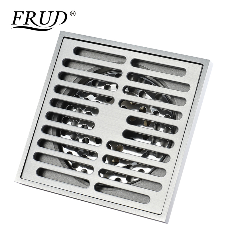 Frud Household Floor Drain Brass Square Shower Drainer Grate Waste Tile Insert Square Floor Waste Bathroom Drain StrainersY38108