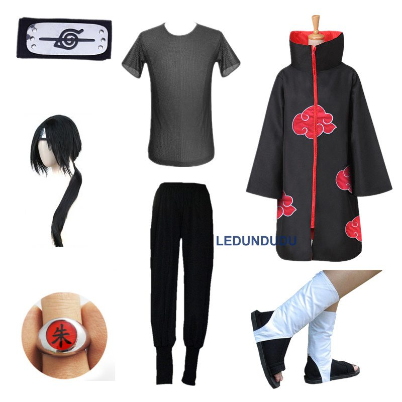 7 in 1 Anime Naruto Cosplay Costumes Akatsuki Uchiha Itachi Cloaks Uniform + T-shirts + Shoes + Headband +Rings for Halloween