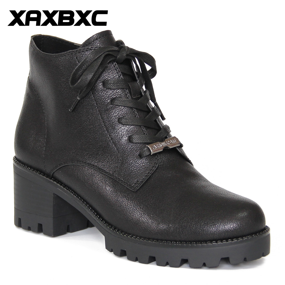 XAXBXC Retro British Style Leather Brogues Oxfords Black Thick Heel Short Boot Women Shoes Round Toe