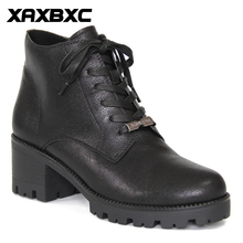 XAXBXC Retro British Style Leather Brogues Oxfords Black Thick Heel Short Boot Women Shoes Round Toe Handmade Casual Lady Shoes
