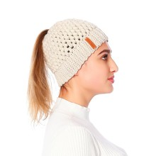 2019 Womens Warm Hat Ponytail Beanie High Messy Bun Stretch Knitted Cap Solid Soft Winter Ladies Hats Fashion New