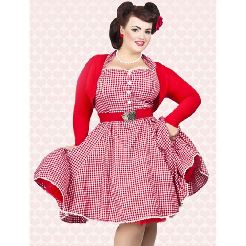Aliexpress.com : Buy women vintage 50s 60s red gingham and ...