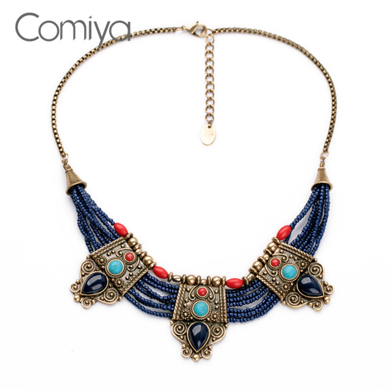 Comiya Vintage Ethnic Bohemia Blue Beads Fashion Designer Choker Necklaces For Women Gold Color Chain Cc