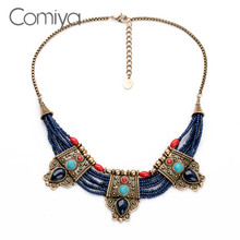 Comiya Vintage Ethnic Bohemia Blue Beads Fashion Designer Choker Necklaces For Women Gold Color Chain Cc Bijoux Charm Pendant