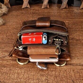 Piccola Tasca Con Cerniera   In Pelle Maschile Design Casual Spalla Messenger Multifunzione Gancio Moda Cintura Marsupio Borsa Da Viaggio Piccolo Sigaretta Sacchetto 6549c