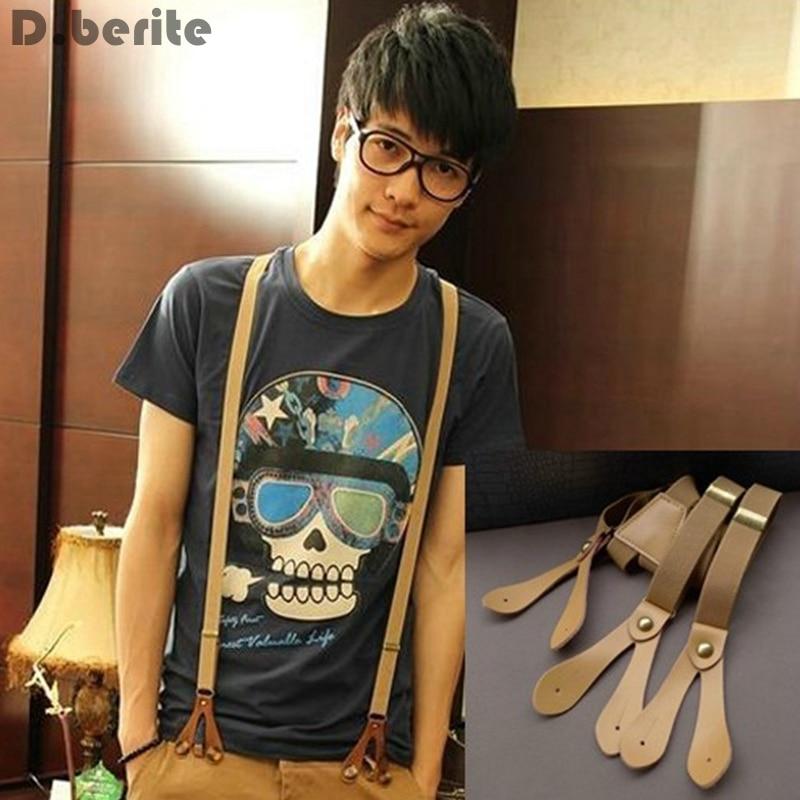 Men's Unisex Adjustable Solid Plain 2cm Width Casual Adult Belt Strap Six Button Holes Suspenders Braces BDXJ215