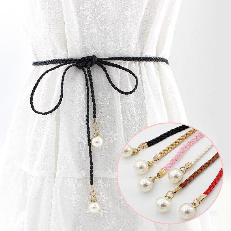 Women Fashion Summer Belt Waist New Bead Strap Buckles Waistband Pearl Accessories