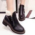 2016 Mulheres Botas Com Zíper Sólida Mulher Ankle Boots Dedo Do Pé Redondo PU Botas de Inverno Mulheres Quentes Sapatos de Couro Confortável E Casual ST921