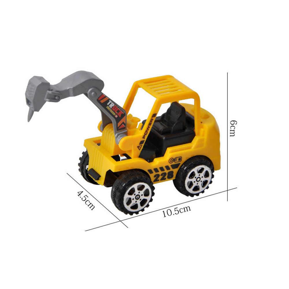 MRY Anak-anak Mini Kendaraan Konstruksi Mainan Bulldozer Peta Roller Excavator Model Truk Traktor Mainan untuk Anak Laki-laki Acak Dikirim