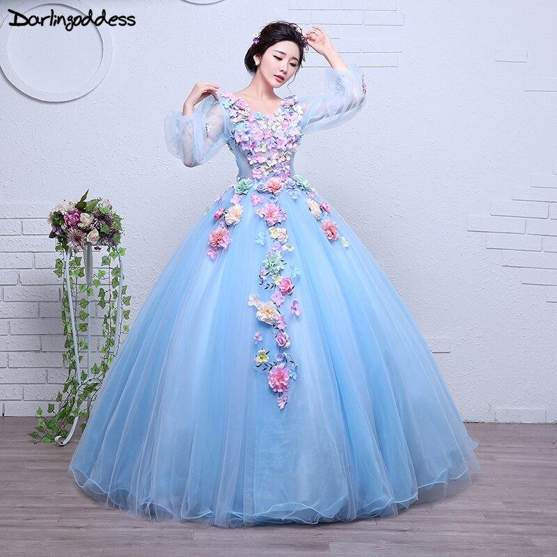 Robes De Quinceanera pas cher Robe De soirée douce dentelle fleur col en V Robe De bal longueur au sol Robe De soirée robes De Quinceanera De luxe