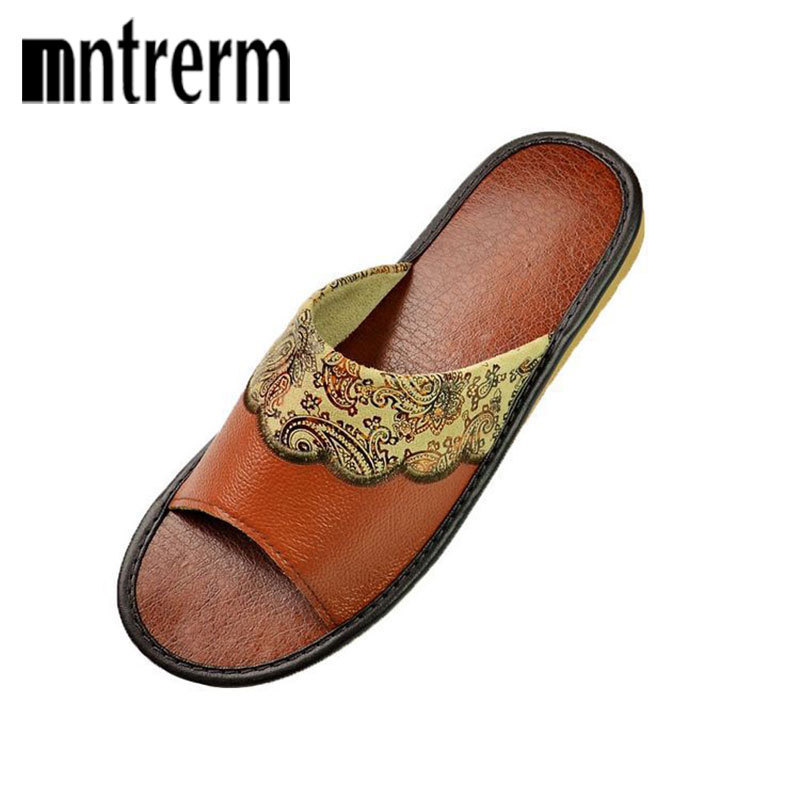 Mntrerm High Quality Summer Home Slippers Couples Genuine Cow Leather Leisure Lamb Wool Cow Muscle Men Indoor Floor Slippers