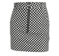 JOYINPARTY For Women Sexy Lines Chess Skirt High Waist Plaid Print Reversible Two Wearing Short Street