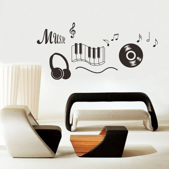 Headphone disc music note wall stickers waterproof music home decoration vinyl mural art wall decals
