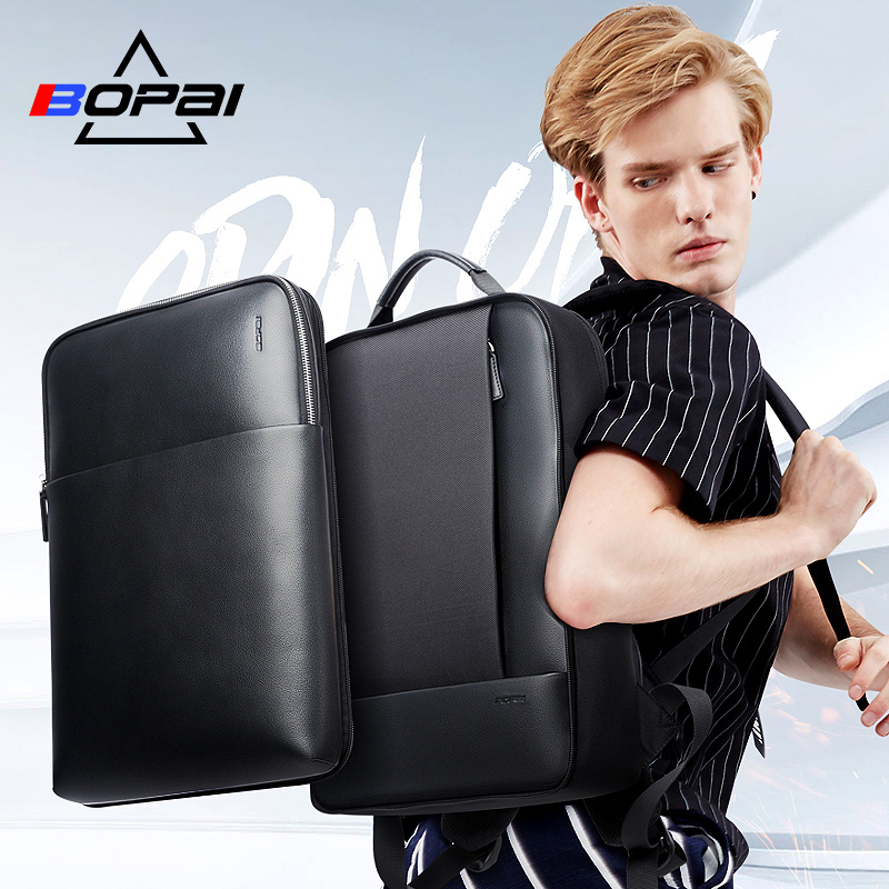 Image 2 - BOPAI Large Capacity Men Travel Bags Detachable 15.6inch Laptop  Backpack with Main Bag for Men Business Travel Leather back  packBackpacks