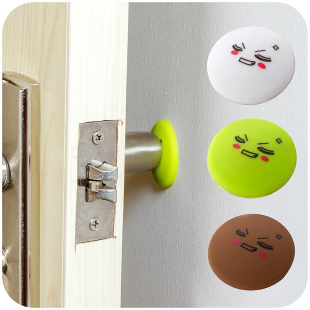 4pcs Silicone Door Handle Knob Crash Pad Wall Protectors Self Adhesive  Bumper Guard Stopper Rubber Anti