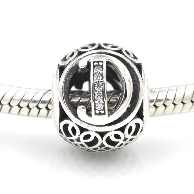 9353dc265e6 US $15.1 |Fit Pandora Charms Bracelet Openwork Alphabet Beads 925 Sterling  Silver Vintage Alphabet Letter D Charm Bead DIY Jewelry-in Beads from ...