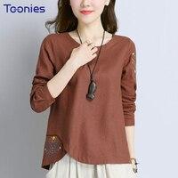 Plus Size Women Clothing 4XL Cute Embroidery Elegant Ladies T Shirt Cotton Linen Tee Shirt Femme