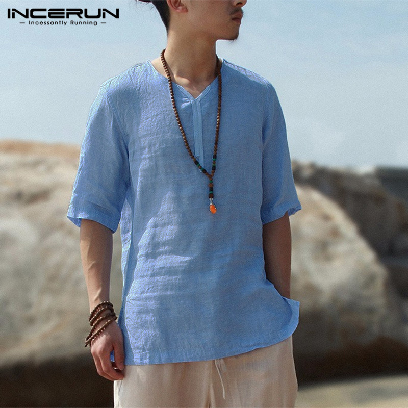 INCERUN Casual Vintage Mens Shirt Summer Half Sleeve V Neck Tops Solid Color Streetwear Shirts Men Chemise 2020 Plus Size 5XL