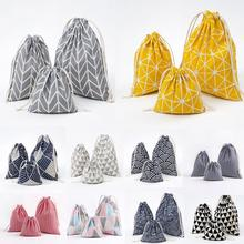 1pcs Geometric Christmas Drawstring Cotton Linen Storage Bag Gift Candy Jewelry Organizer Makeup Cosmetic Coins keys Bags 49273(China)