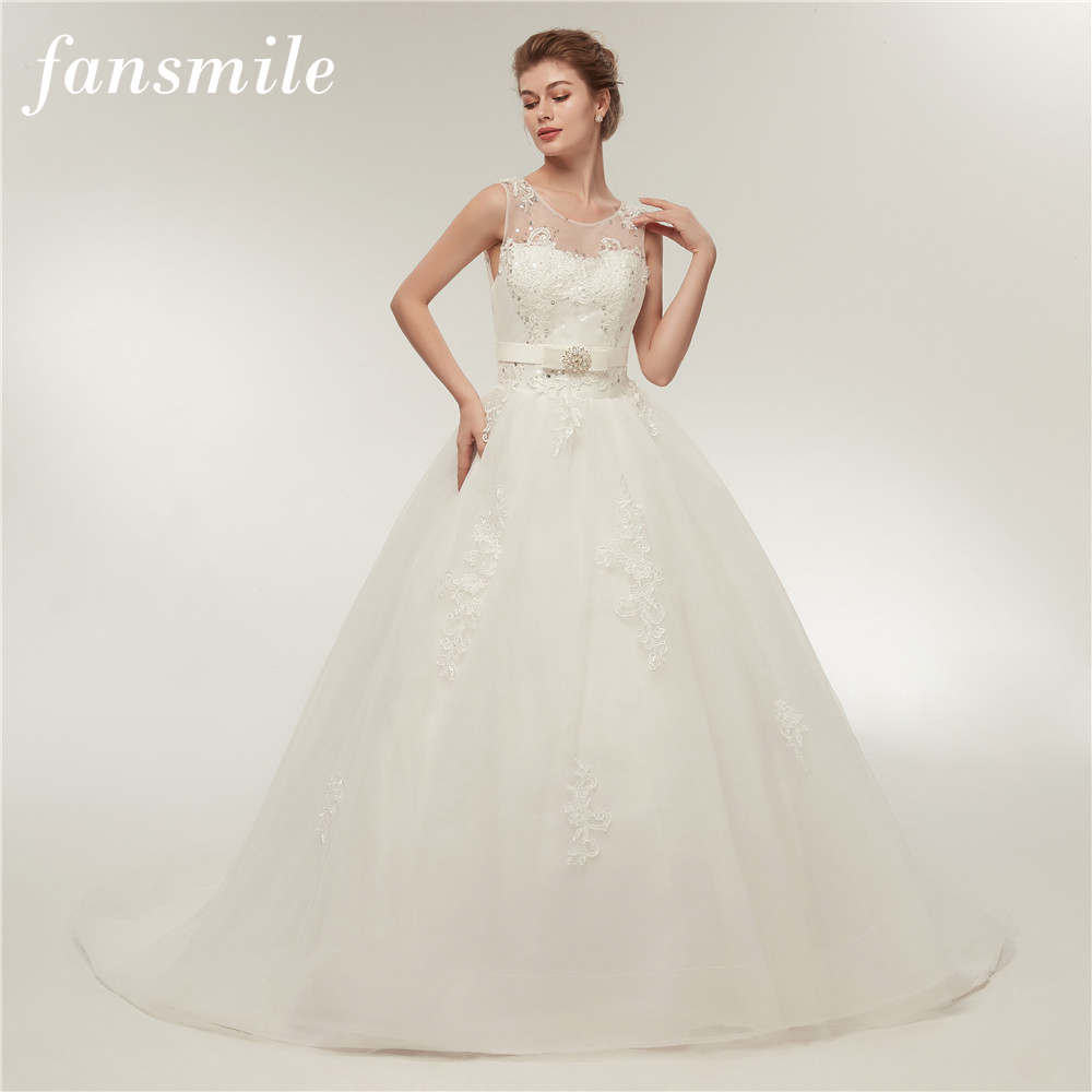 Fansmile High Quality Vintage Lace Up Wedding Dress 2017 Long Train Vestido de Novia Customized Plus Size Wedding Gowns FSM-006T
