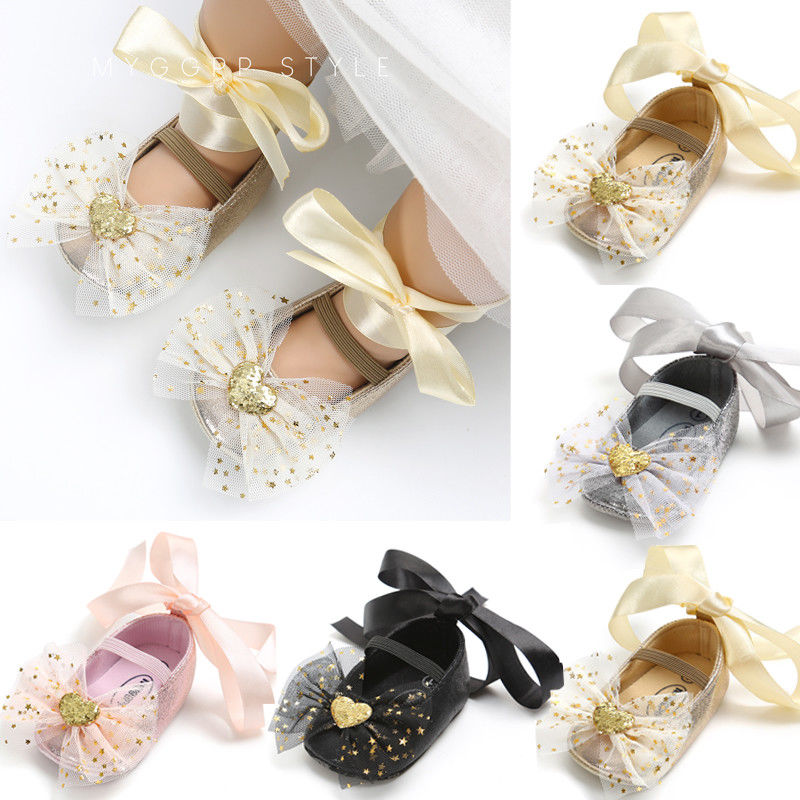 Newborn First Walkers Toddler Baby Girls Bow Shoes Party Kids Flat Heels Shoes Girls Cross-tied Princess Fall Spring Shoes