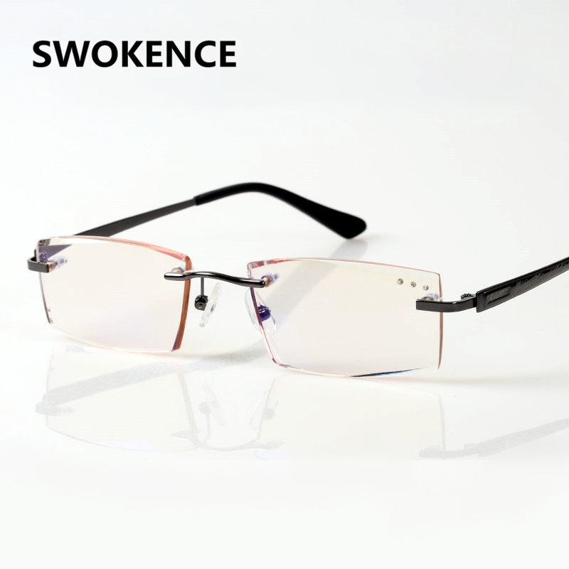 SWOKENCE Upscale Blue Light Proof Reading Glasses Mens Diamond Cutting Rimless Anti-radiation Slim Lens Presbyopic Eyewear R112
