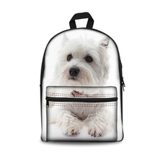 Forudesigns/белый Вест Хайленд терьер собака школьные сумки для подростков девочек 3D милое домашнее животное печати холст школьный рюкзак