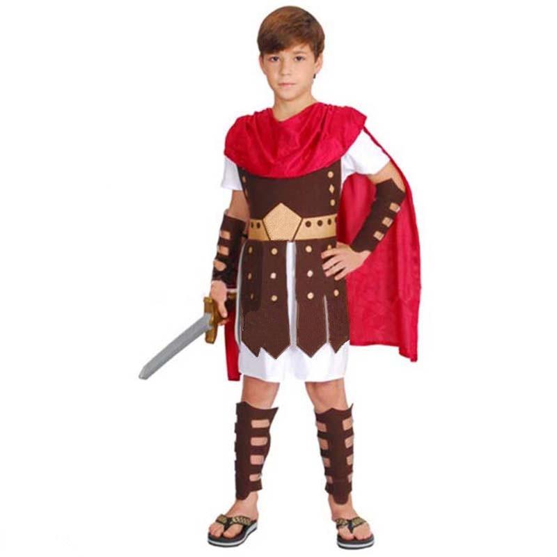 2018 Kids Boy Ancient Rome Warrior Costume Children Italy ...